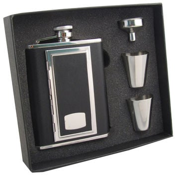 Visol SP Black Leather 6oz Cigarette Case Flask Gift Set