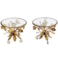 Pair of Italian Round Gold Gilt Flowers End Tables in Arthur Court Style