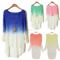 Long Sleeve Batwing Knitted Loose Sweater Cardigans Women Gradient Knitwear Tops One size 18921