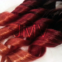 "12"" #1b Ginger Kick Red Ombre Clip-In 100% human hair extensions Straight Red Orange Black"