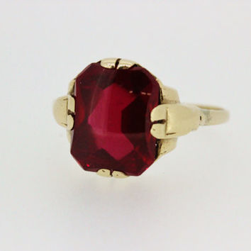 Antique Ruby Ring Vintage Gold Ring Estate Ring Right Hand Ring Gemstone Ring Dainty Ring Art Deco Ring Promise Ring 1930s Ring Size 4.75