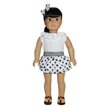 "Doll Clothes Fits American Girl 18"" Inch Polka Dots Black & White Dress"