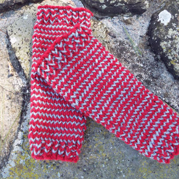 Red and Grey Striped Legwarmers- Baby Leg Warmers Boy- Gender Neutral Baby- Baby Hippie- Newborn Legwarmers- Knit Baby Legwarmers