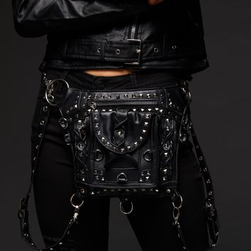 Chain Reaction Black Studded Holster Waist Bag