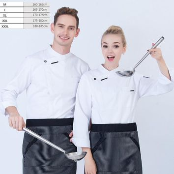 1pc Hotel chief black wear long sleeved master uniform pastry chef and restaurant kitchen work clothes plus size by