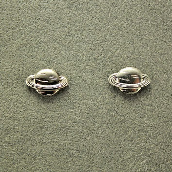 Tiny Silver Saturn Magnetic Earrings