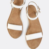 Scalloped Trim Flat Sandals WHITE