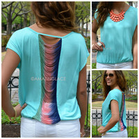 Sunset Strip Mint Slashed Back Top