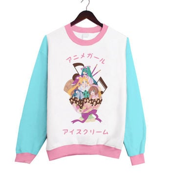 Super cute Japanese Anime Girl Ice Cream Fashion Sweater with blue sleeves and pink rims!