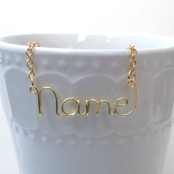 Personalized Wire Name Necklace or Word Necklace Custom Gold Silver Copper