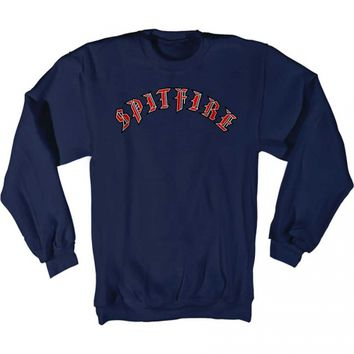 Spitfire Wheels Spitfire Old E Crew Sweatshirt Navy Blue