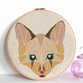 Fox Cross Stitch pattern Geometric, Wild, Fox Pattern, Mountain Forest Woodland Animals, Modern Cross Stitch, Animal Cross Stitch flower
