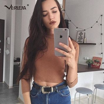 Verlena Super Soft Cropped Jumper 2018 Spring Autumn Black Sweater Women Pullovers Basic Knitwear Rib Funnel Neck Crop Sweaters