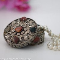 Jewelry Box: Vintage Metal Round Indian Jewelry Box Decorated with Stone Cabochons, Gift for Her, Listed by Cozy Traditions