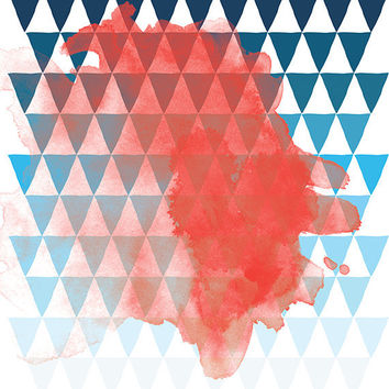 Abstract Art Print, Graphic Design Poster, Watercolour inspired Print, Tile Pattern, Red, Blue Triangles - Berlin
