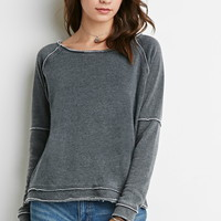 Seamed Fleece Knit Sweater