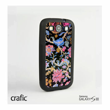Black Flowers Texture Case Samsung i9300 Galaxy S3 III