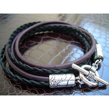 Leather Bracelet, Double Strand Triple Wrap, Antique Brown and Black, Mens Bracelet, Womens Bracelet