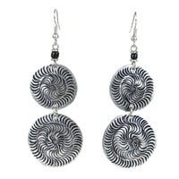 Stamped Recycled Cooking Pot 'Double Disk' Earrings