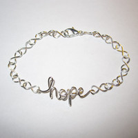 Free Shipping Hope Infinity Bracelet Handcrafted Chain Minimalist Modern Inspirational Silver Delicate Unique