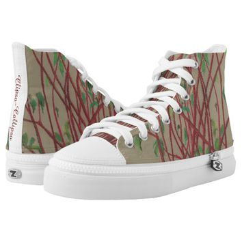 Red twigs, pastel drawing nature art tree branches printed shoes