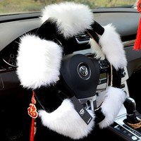 UGG Winter Snow Wool Steering wheel cover steer cover car decor automobile gift, car accessories