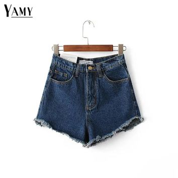 Summer irregular white Short Jeans fashion tassel high waist Denim Shorts summer women jeans Sexy black white shorts