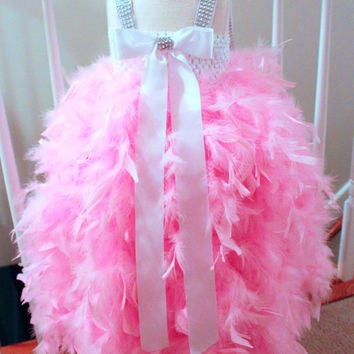 Pink Feather Dress, Baby Pageant Dress, Toddler Pageant Dress, Valentines Day, Flower Girl Tutu Dress
