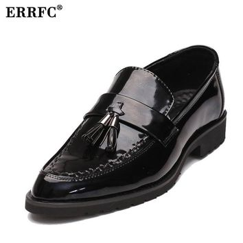 ERRFC Forward Pointed Toe Boat Black Leather Dress Shoes