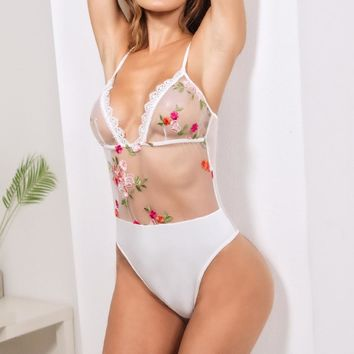 Women's Flower Embroidered Deep V-neck Lace Bodysuits Slim Fit Workwear Sexy Perspective Thin Paghetti Strap Bodysuits