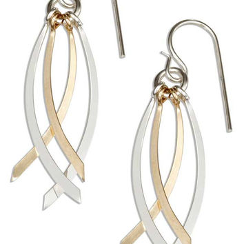 STERLING SILVER AND 12 KARAT GOLD FILLED QUADRUPLE CURVED BAR DANGLE EARRINGS