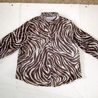 ALFRED DUNNER ANIMAL PRINT LADIES BLOUSE 14P 100% POLYESTER