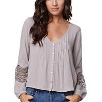 Roxy Button Front Peasant Top