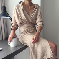 spring summer khaki beige sexy vintage Cotton and Linen shirt dress v neck Long Sleeve Belted Dress Elegant Work Long Dress
