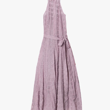 Halter Lace Purple Maxi Dress