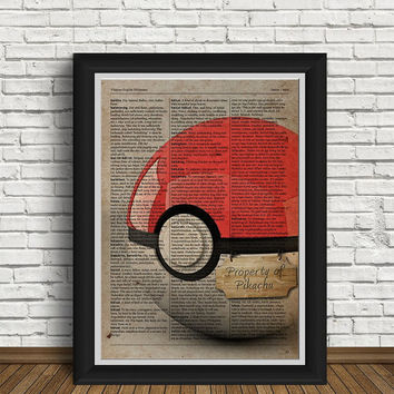 Pokemon ball | Pokemon art | Pokemon gifts | Pokemon | newspaper design | Pikachu | home interior | retro |  pokeball | retro |poke ball art