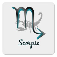 "Scorpio Symbol 4x4"" Square Sticker"