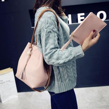 Fashion Women Messenger Bags With Tote Purse Leather Bead Tassel Pendant Ladies Shopping Travel Crossbody Shoulder Bag L