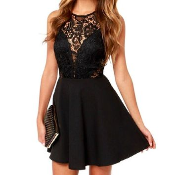 2016 Brand Clothing Women Black Sexy Short Sleeveless Lace Dress Short Evening Party Dresses Hollow Out