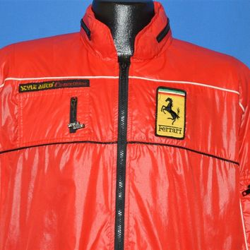 80s Ferrari Red Racing Zip Up Jacket Extra Large