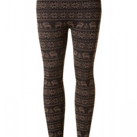 Fleece Lined Winter Print Leggings - Mocha Reindeers, Burgundy Reindeers, Gray Reindeers, Gray Snowflakes or White Aztec