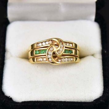 Wide Emerald and Diamond Triple Stacking Knot Ring