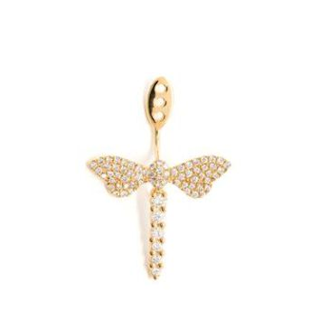 YVONNE LEON | 18k Gold and Diamond Dragonfly Lobe Earring | Browns fashion & designer clothes & clothing