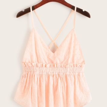 Schiffy Ruffle Hem Criss Cross Back Cami Top
