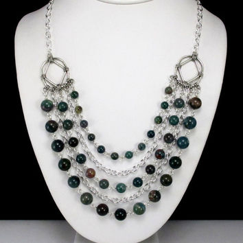 Indian Bloodstone and Chain Necklace