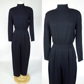 St John black jumpsuit, santana rayon wool knit long sleeve high neck jumpsuit with pockets, Small to medium