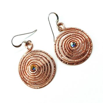 Sparkly Crystal Copper and Silver Swirl Earrings