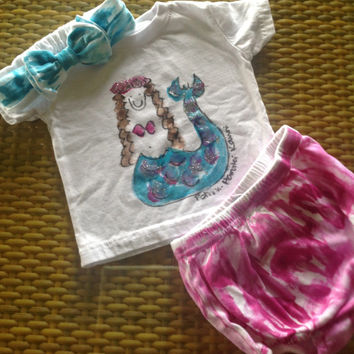 Kauai Hawaii Baby - Hand Painted New Born - Unisex Diaper Set - T Shirt and Bottom - Toddler Set  - Hand Painted Kauai