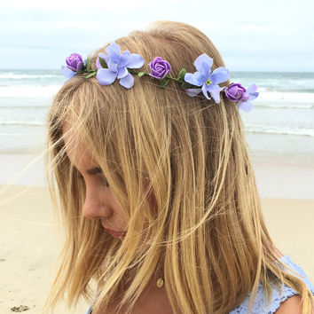 Periwinkle Bloom Crown Floral Headband