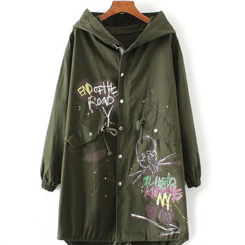 New Style Fall Winter Fashion Color Printing and Short In Front Long Hooded Windbreaker Trench Female Coat